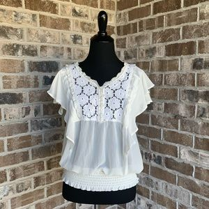 American Rag Cream Sheer Lace Top W/ Ruffle Sleeve
